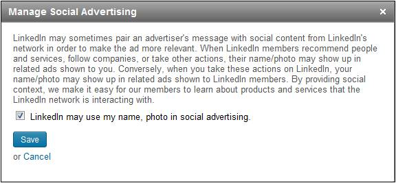 How to turn off Linkedin social advertising
