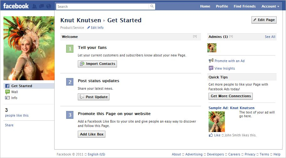 Facebook Business Page Get Started Screen