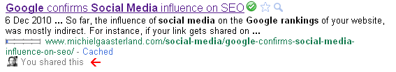 Increasing Social Media influence on Google search results