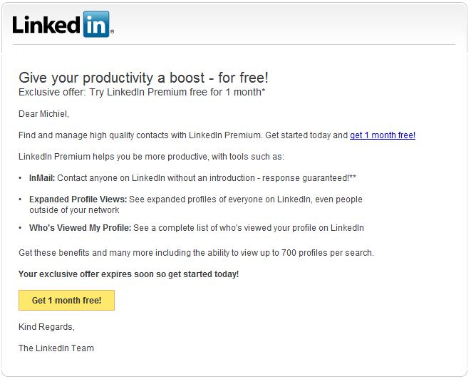 Linkedin misleading offer free premium