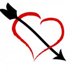 Social media marketing engagement heart and arrow