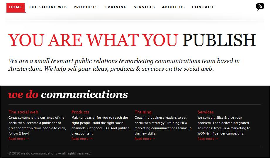 Screenshot of the we do communications home page on wedocommunications.com